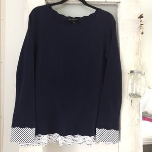 Navy Sweater with Beautiful Details